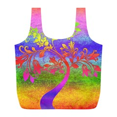 Tree Colorful Mystical Autumn Full Print Recycle Bags (L)