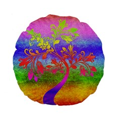 Tree Colorful Mystical Autumn Standard 15  Premium Flano Round Cushions