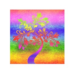 Tree Colorful Mystical Autumn Small Satin Scarf (Square)