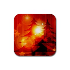 Tree Trees Silhouettes Silhouette Rubber Coaster (Square)