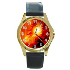 Tree Trees Silhouettes Silhouette Round Gold Metal Watch