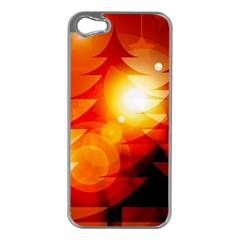 Tree Trees Silhouettes Silhouette Apple iPhone 5 Case (Silver)