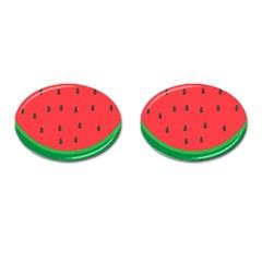 Watermelon Fruit Cufflinks (Oval)