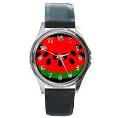 Watermelon Melon Seeds Produce Round Metal Watch