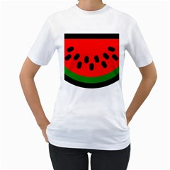 Watermelon Melon Seeds Produce Women s T-Shirt (White) (Two Sided)