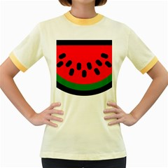Watermelon Melon Seeds Produce Women s Fitted Ringer T-Shirts