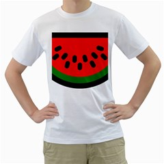 Watermelon Melon Seeds Produce Men s T-Shirt (White) (Two Sided)