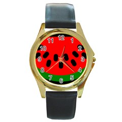 Watermelon Melon Seeds Produce Round Gold Metal Watch