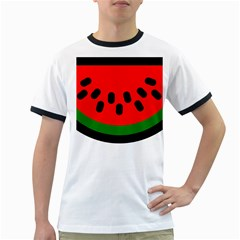 Watermelon Melon Seeds Produce Ringer T-Shirts