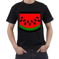 Watermelon Melon Seeds Produce Men s T-Shirt (Black) (Two Sided)