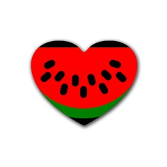 Watermelon Melon Seeds Produce Rubber Coaster (Heart)