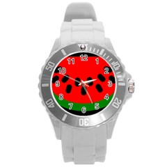 Watermelon Melon Seeds Produce Round Plastic Sport Watch (L)