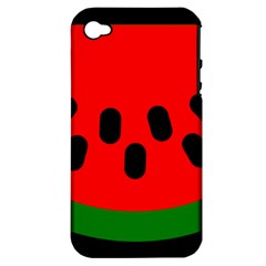 Watermelon Melon Seeds Produce Apple iPhone 4/4S Hardshell Case (PC+Silicone)