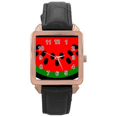 Watermelon Melon Seeds Produce Rose Gold Leather Watch