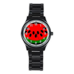 Watermelon Melon Seeds Produce Stainless Steel Round Watch