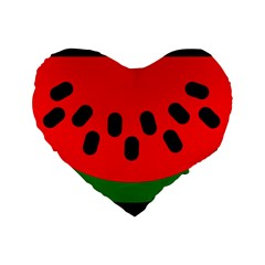 Watermelon Melon Seeds Produce Standard 16  Premium Flano Heart Shape Cushions