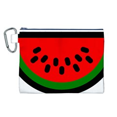 Watermelon Melon Seeds Produce Canvas Cosmetic Bag (L)