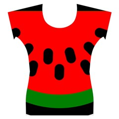 Watermelon Melon Seeds Produce Women s Cap Sleeve Top