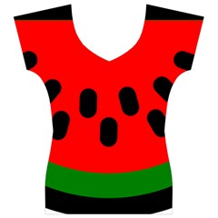 Watermelon Melon Seeds Produce Women s V-Neck Cap Sleeve Top