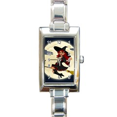 Witch Witchcraft Broomstick Broom Rectangle Italian Charm Watch