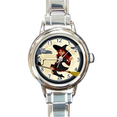 Witch Witchcraft Broomstick Broom Round Italian Charm Watch