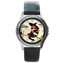 Witch Witchcraft Broomstick Broom Round Metal Watch