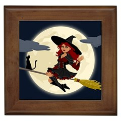 Witch Witchcraft Broomstick Broom Framed Tiles
