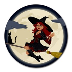 Witch Witchcraft Broomstick Broom Round Mousepads