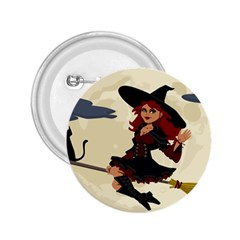 Witch Witchcraft Broomstick Broom 2.25  Buttons