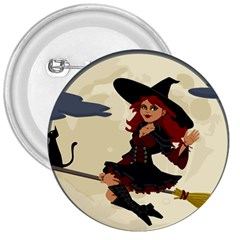 Witch Witchcraft Broomstick Broom 3  Buttons