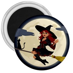 Witch Witchcraft Broomstick Broom 3  Magnets