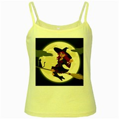 Witch Witchcraft Broomstick Broom Yellow Spaghetti Tank
