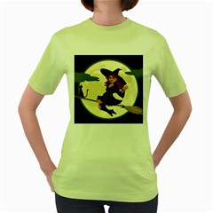 Witch Witchcraft Broomstick Broom Women s Green T-Shirt