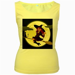 Witch Witchcraft Broomstick Broom Women s Yellow Tank Top