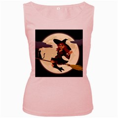 Witch Witchcraft Broomstick Broom Women s Pink Tank Top