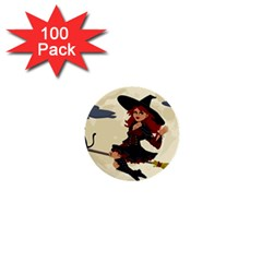 Witch Witchcraft Broomstick Broom 1  Mini Buttons (100 pack)