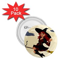 Witch Witchcraft Broomstick Broom 1.75  Buttons (10 pack)