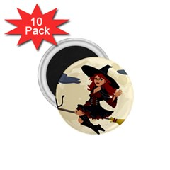 Witch Witchcraft Broomstick Broom 1.75  Magnets (10 pack)
