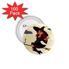 Witch Witchcraft Broomstick Broom 1.75  Buttons (100 pack)