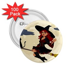 Witch Witchcraft Broomstick Broom 2.25  Buttons (100 pack)