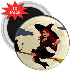 Witch Witchcraft Broomstick Broom 3  Magnets (10 pack)