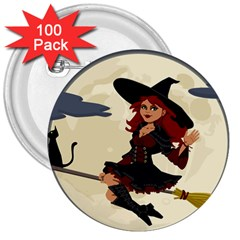 Witch Witchcraft Broomstick Broom 3  Buttons (100 pack)