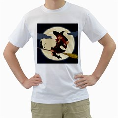Witch Witchcraft Broomstick Broom Men s T-Shirt (White) (Two Sided)
