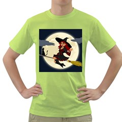 Witch Witchcraft Broomstick Broom Green T-Shirt