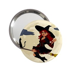Witch Witchcraft Broomstick Broom 2.25  Handbag Mirrors