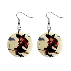 Witch Witchcraft Broomstick Broom Mini Button Earrings