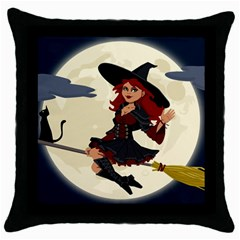 Witch Witchcraft Broomstick Broom Throw Pillow Case (Black)