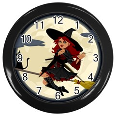 Witch Witchcraft Broomstick Broom Wall Clocks (Black)