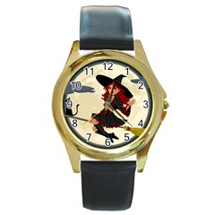 Witch Witchcraft Broomstick Broom Round Gold Metal Watch