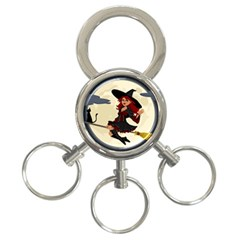 Witch Witchcraft Broomstick Broom 3-Ring Key Chains